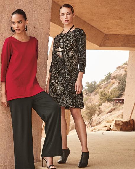 Caroline Rose Plus Size Snake-Print 3/4-Sleeve Ottoman Knit Dress