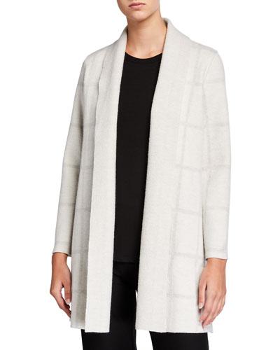 Windowpane Wool Shawl-Collar Cardigan