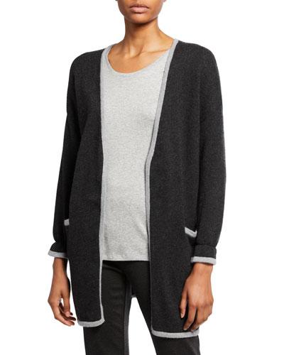Merino Wool Jersey Edged Long-Sleeve Cardigan