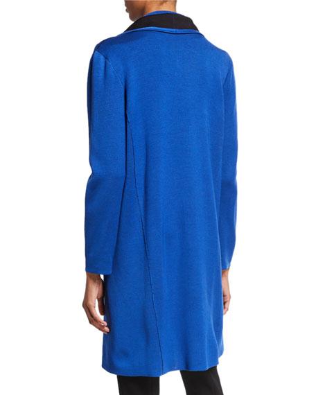 Misook Plus Size Contrast Trim Open-Front Long Jacket