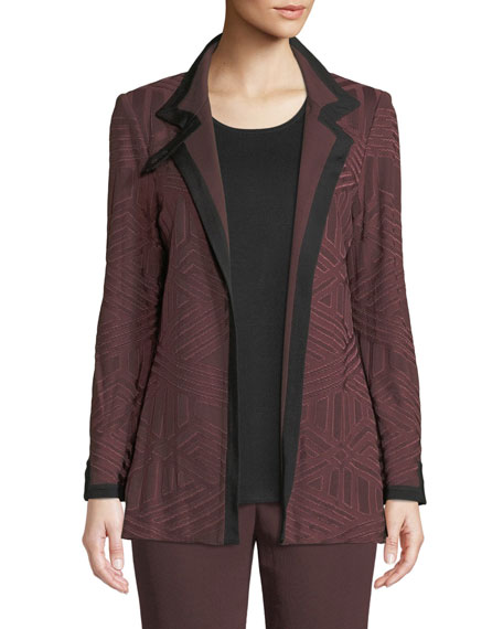 Misook Petite Textured Knit Jacket w/ Border Trim