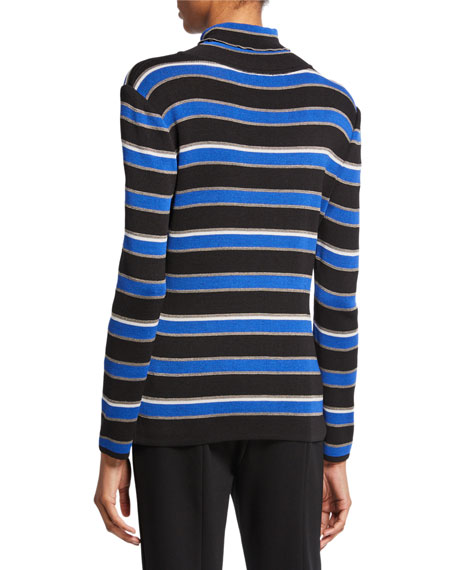Image 2 of 2: Misook Striped Turtleneck Long-Sleeve Tunic