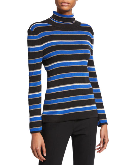 Image 1 of 2: Misook Striped Turtleneck Long-Sleeve Tunic