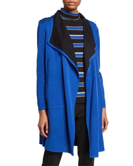 Misook Contrast Trim Open-Front Long Jacket