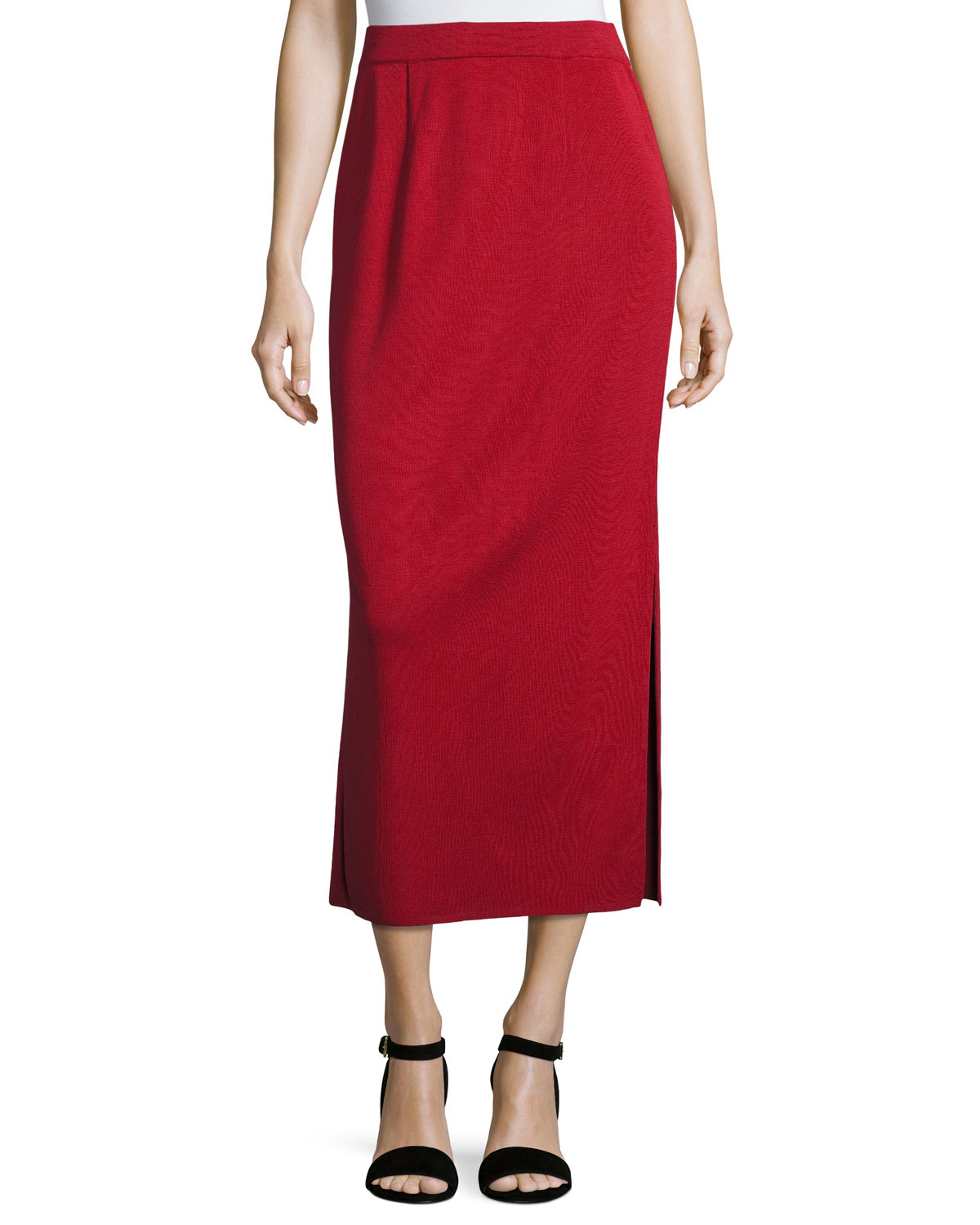 Misook Petite Long Straight Knit Skirt, Vintage Rose