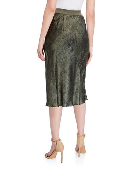 ATM Anthony Thomas Melillo Snake-Print Silk Midi Skirt