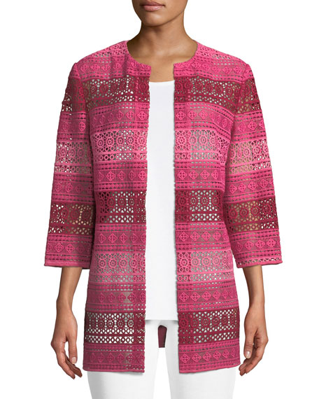 Misook Plus Size Lace Topper Jacket with Knit Back