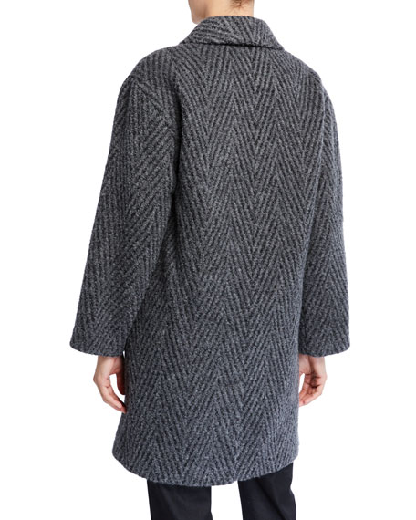 Eileen Fisher Chevron Double-Breasted Oversized Coat