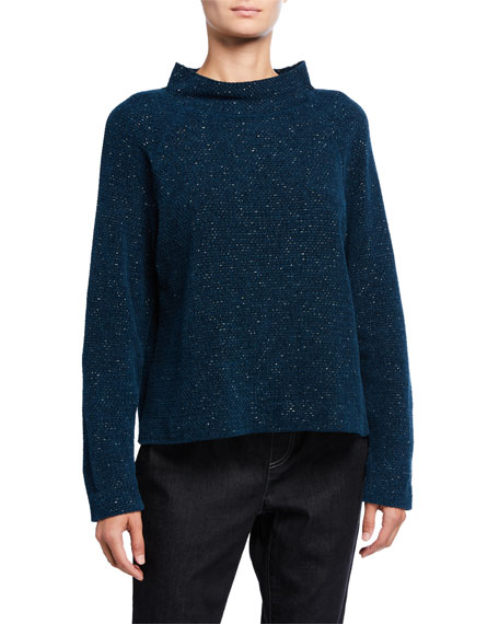 Eileen Fisher Funnel-Neck Organic Cotton Box Sweater