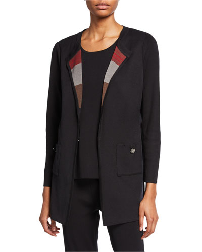 Petite Easy Jacket with Striped Scarf Lapel