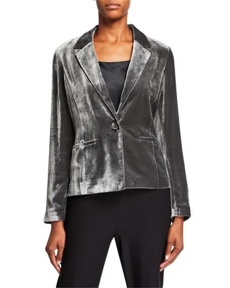 Eileen Fisher One-Button Velvet Shaped Jacket