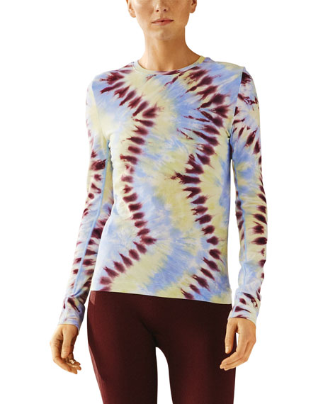 Tory Sport Tie-Dye Seamless Long-Sleeve Top
