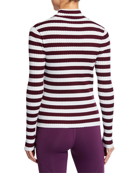 Tory Sport Striped Ribbed Turtleneck Top
