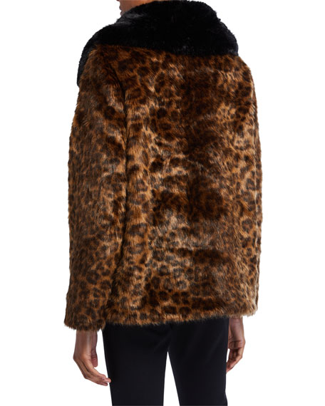 kate spade new york long-sleeve faux fur leopard coat