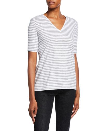 Striped V-Neck Short-Sleeve Organic Cotton Slub Tee