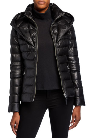 Mackage Andrea Hooded Bib Leather Coat
