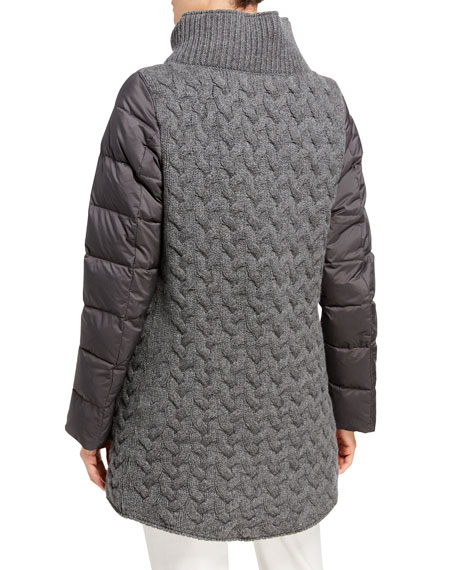 Herno Cable Knit-Back Zip-Up Puffer Coat