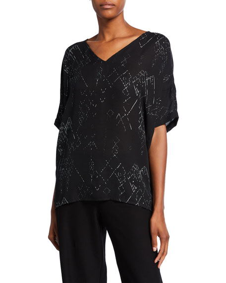 Eileen Fisher Plus Size Marrakech Printed V-Neck Short-Sleeve Top