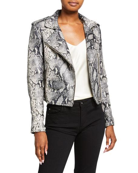 Iro Ashville Cropped Snake-Print Leather Jacket