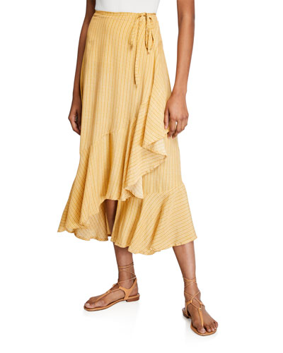 Jasper Printed Wrap Midi Skirt