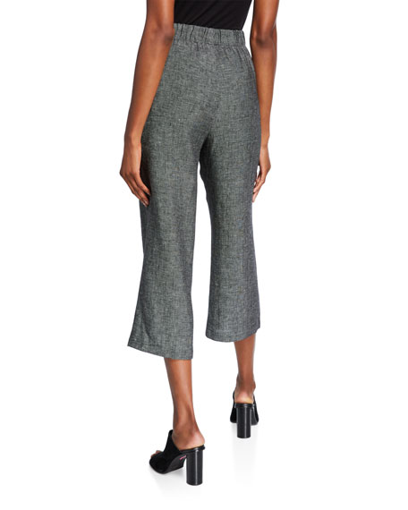 Eileen Fisher Organic Linen Tweed Straight-Leg Crop Pants