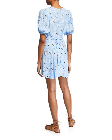 Faithfull the Brand Ilia Floral Puff-Sleeve Mini Dress with Buttons