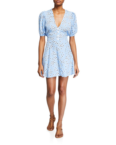 Ilia Floral Puff-Sleeve Mini Dress with Buttons