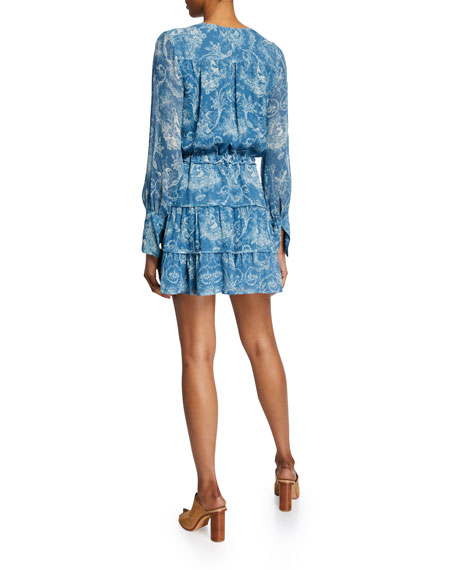 PAIGE Christine Printed Long-Sleeve Short Dress