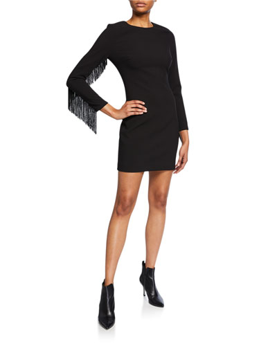 Quinley Fringe-Sleeve Cocktail Dress