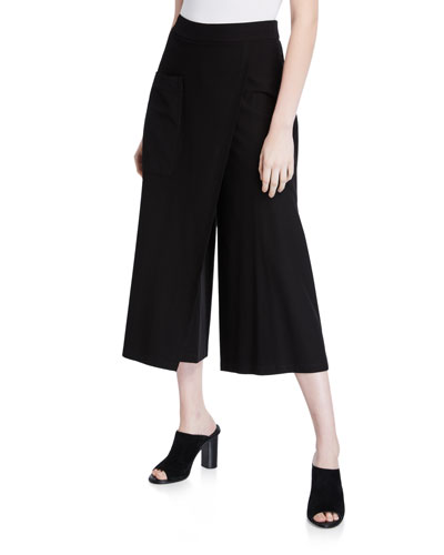 Crepe Faux-Wrap Wide-Leg Crop Pants