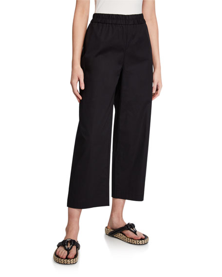 Eileen Fisher Plus Size Poplin Straight-Leg Pull-On Crop Pants