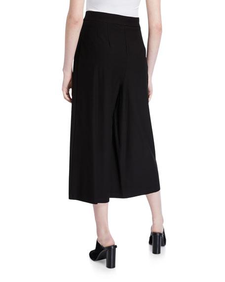 Eileen Fisher Plus Size Faux-Wrap Washed Crepe Wide-Leg Crop Pants