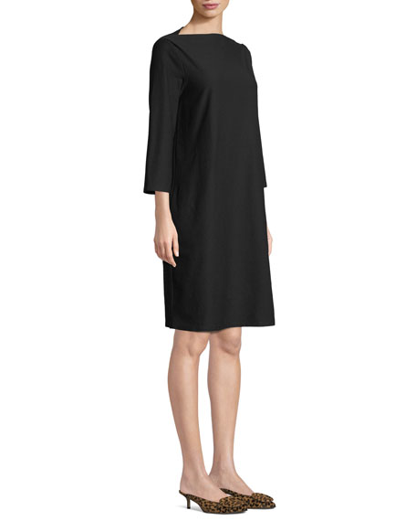 Eileen Fisher Plus Size 3/4-Sleeve Washable Stretch-Crepe Dress