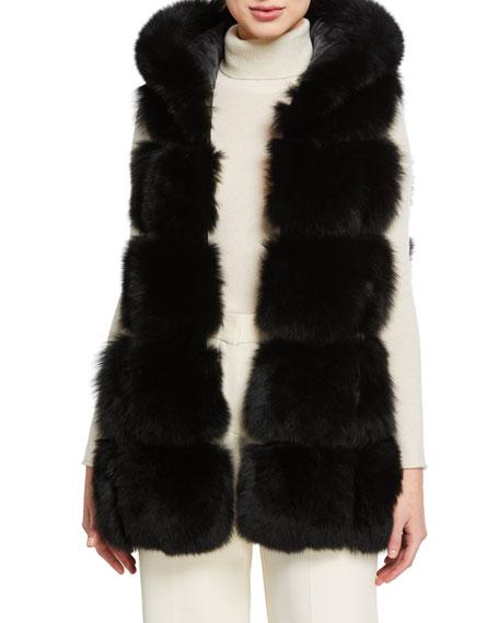 Belle Fare Fox Fur Hooded A-Line Vest