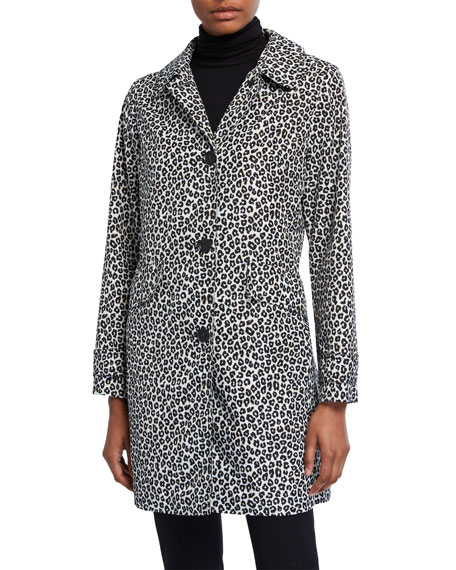 Image 2 of 3: kate spade new york leopard print button-front hooded midi coat