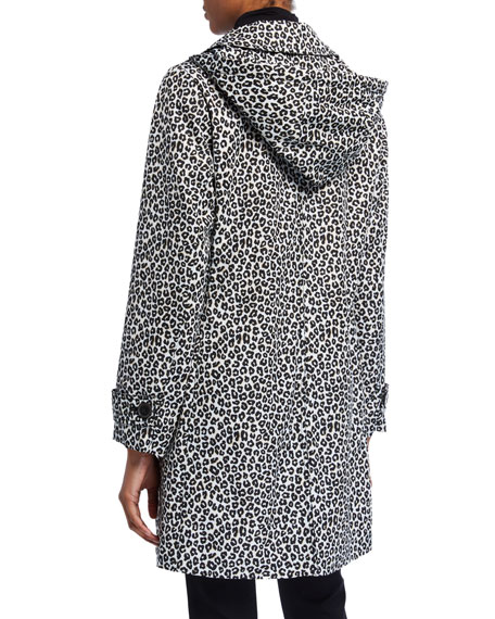 Image 3 of 3: kate spade new york leopard print button-front hooded midi coat