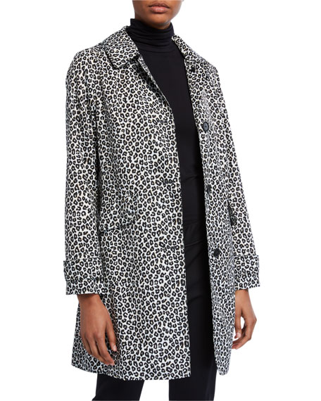 Image 1 of 3: kate spade new york leopard print button-front hooded midi coat