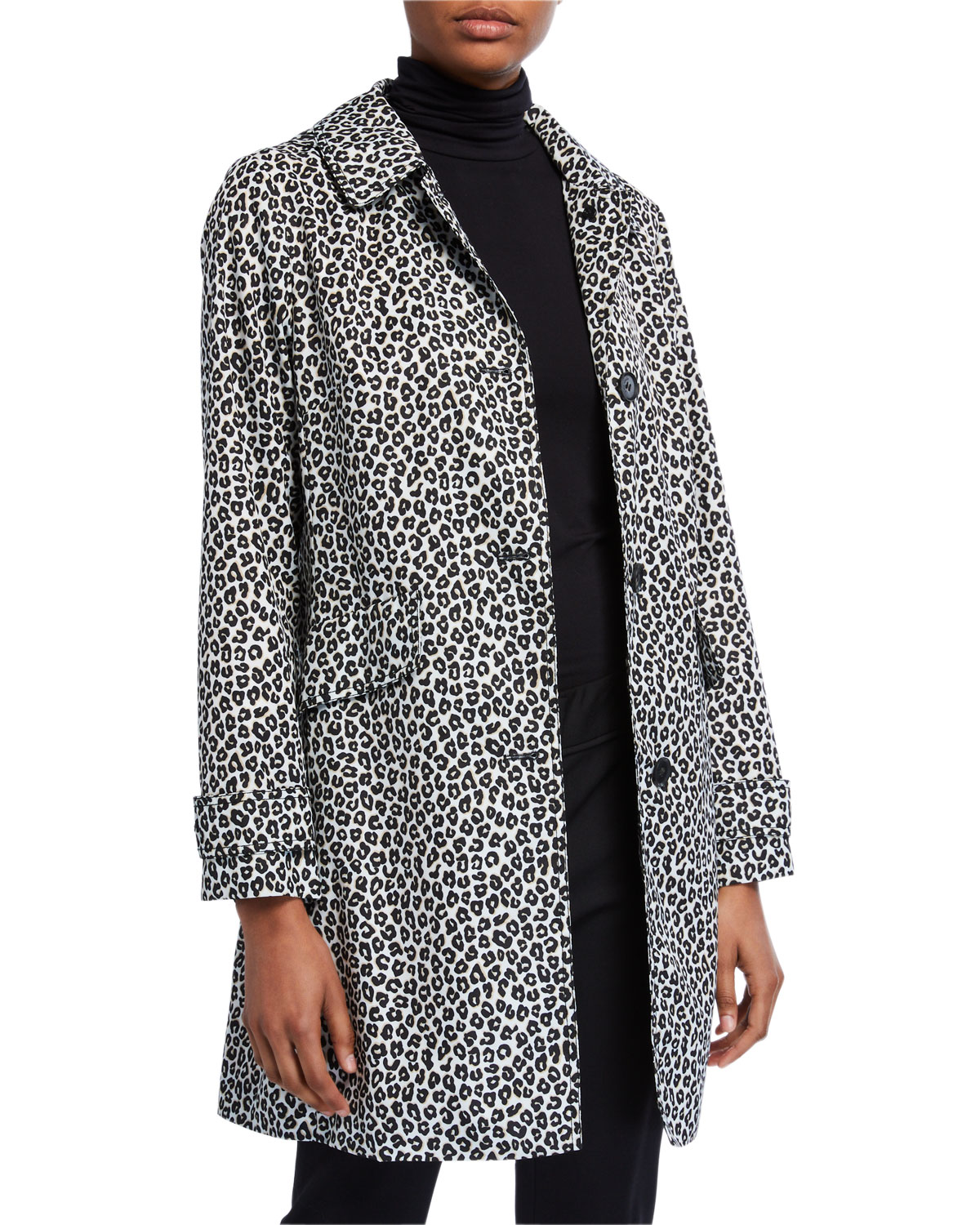 kate spade new york leopard print button-front hooded midi coat