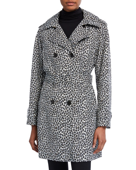Image 2 of 3: kate spade new york leopard print double-breasted belted trench coat