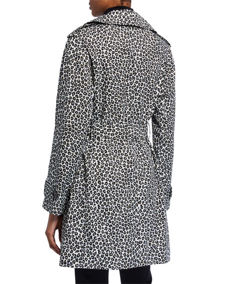 Image 3 of 3: kate spade new york leopard print double-breasted belted trench coat