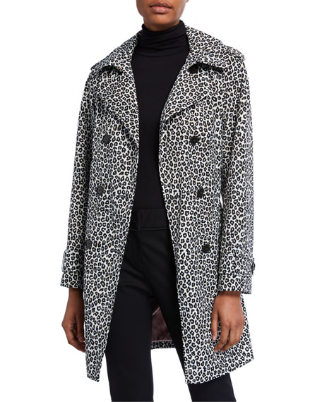 Image 1 of 3: kate spade new york leopard print double-breasted belted trench coat