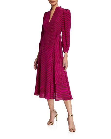 Tanya Taylor Marcela Zebra-Stripe Midi Dress