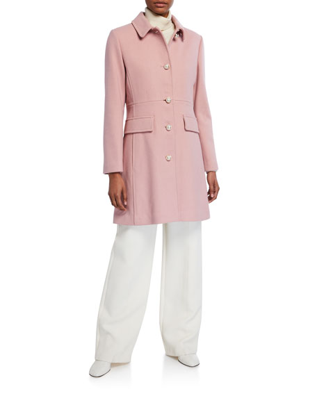 kate spade new york leopard faux fur collar wool-blend coat