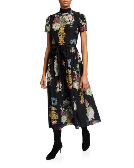 REDValentino Chinoiserie Lacquer Print Mock-Neck Short-Sleeve Dress w/ Ribbon Belt