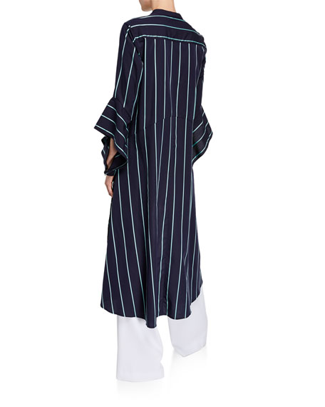 palmer//harding Echo Striped Open-Sleeve High-Low Shirt