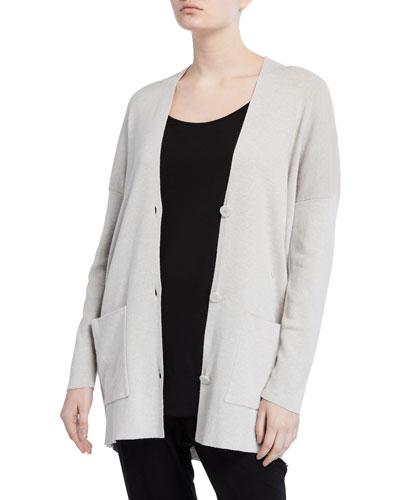 Organic Cotton/Silk V-Neck Button-Front Boyfriend Cardigan