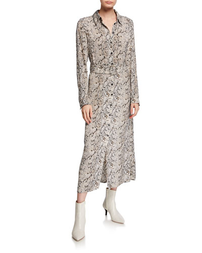 Belted Snake-Print Button-Down Long Dress
