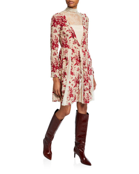 REDValentino Floral Tapestry Lace High-Neck Long-Sleeve Dress