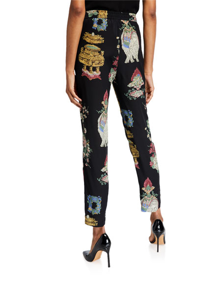 REDValentino Chinoiserie Lacquer Printed Drawstring Pants