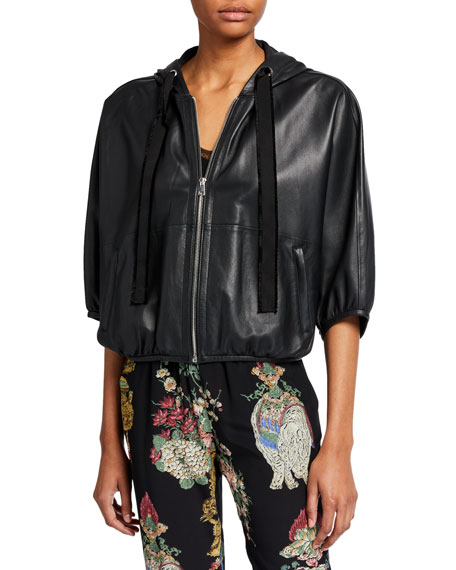 REDValentino Zip-Front Hooded Leather Jacket